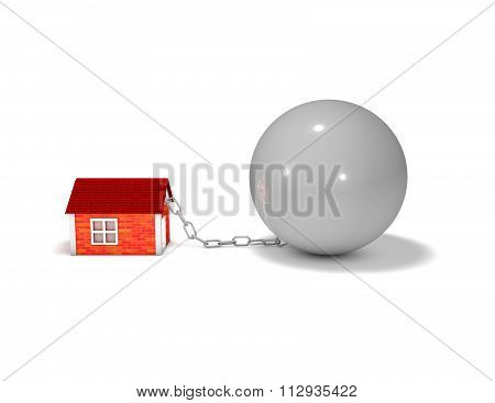 Bad Debt And Financial Crisis Idea With House And Ball On Chain.