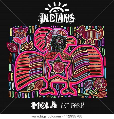 Vector Ethnic Design Element. Indians. MOLA Art Form. Mola Style Bird. Ethno Bright Decorative Illus