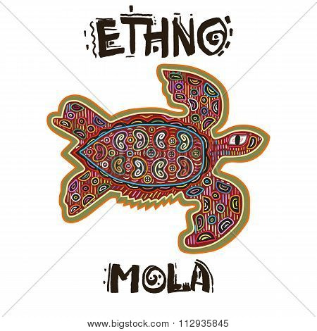 Decorative Vector Ethnic Animal in Mola Art Form of Kuna Indians. Ethno. Mola Style. Turtle. The Art