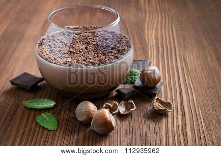 Chocolate Mousse Dessert With Mint And Hazelnuts