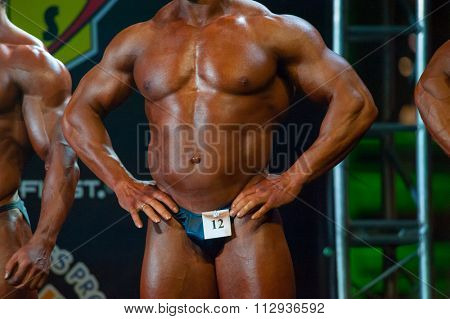 MOSCOW, RUSSIA - NOVEMBER 21, 2015: Athlete participates in Bodybuilding Champions Cup during SN Pro Expo Forum 2015 on November 21, 2015 in Moscow, Russia
