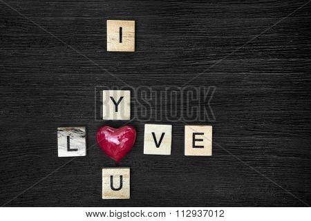 Wooden Letters Spelling I Love You