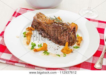 Roastet Rump Steak With Chanterelle, Cream Sauce