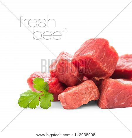 Pile Of Juicy Beef Cubes, Isolated