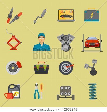 Auto mechanic car repair service flat icon set