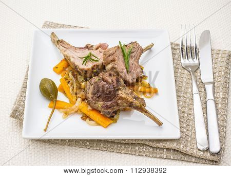 Grilled Racks Of Lamb With Carrot, Capers