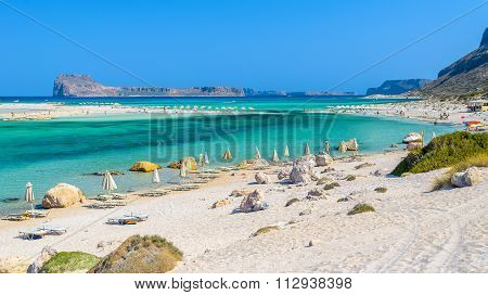 Umbrellas on Balos beach on Crete island, Greece