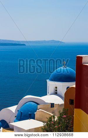White-blue Santorini - View Of Caldera With Domes