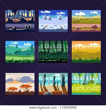 Set of Seamless Cartoon Landscapes for Game Design