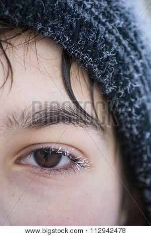 Face boy frozen eye lashes siberian winter
