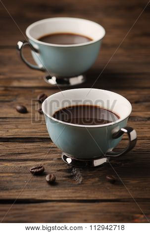 Cup Of Italian Stong Coffee Espresso On The Vintage Table