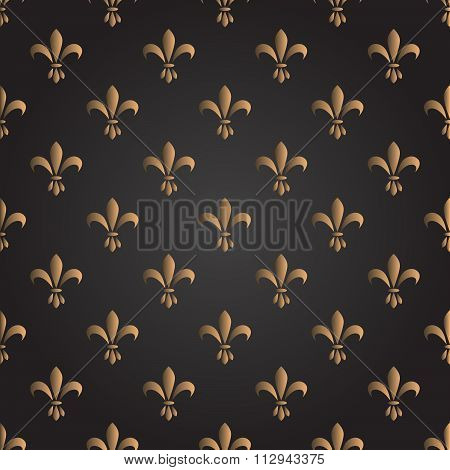 Fleur De Lis Seamless Vector Pattern. French Vintage Stylized Lily Luxury Symbol.