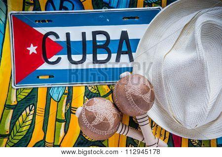 Panama Hat And Maracas, Travel To Cuba