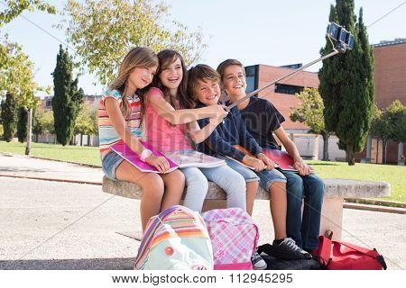 School Kids Taking Selfies