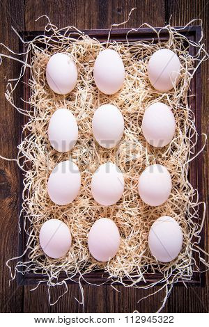 Dozen Of Farm Fresh Eggs In Wooden Crate