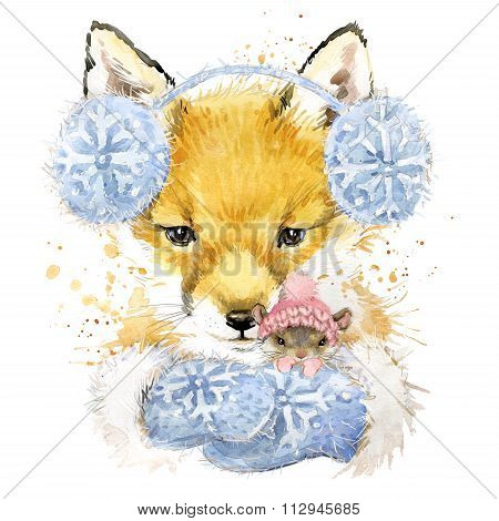 Cute fox T-shirt graphics, fox and mouse illustration with splash watercolor textured background. il