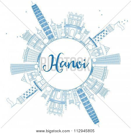 Outline Hanoi skyline with blue Landmarks and copy space. Vector illustration. Business and tourism concept with copy space. Image for presentation, banner, placard or web site
