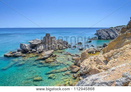 Beautiful rocky coastline of Crete island in Preveli, Greece