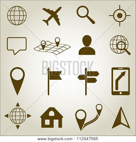 Map and Location Icons set. Vector illustration. Location, navigation and road signs or symbols.