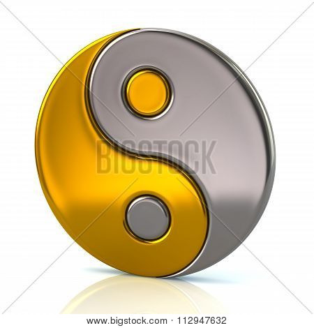 Golden And Silver Ying Yang Symbol Of Harmony And Balance