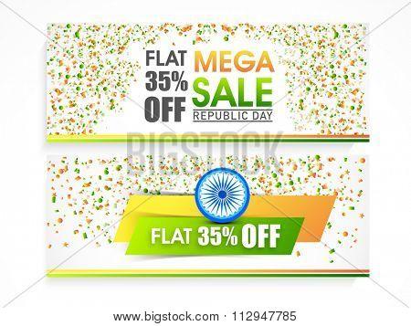 Mega Sale website header or banner set with flat 35% off for Happy Indian Republic Day celebration.