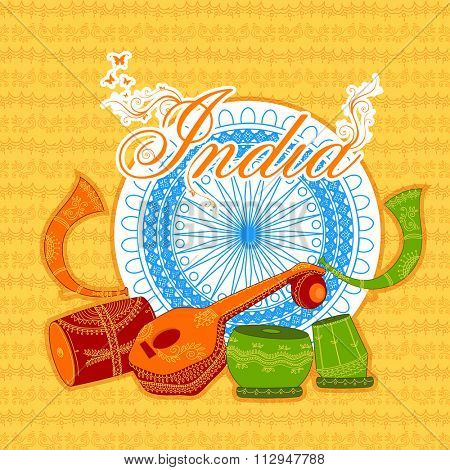 Creative traditional Musical Instruments with Ashoka Wheel on floral design decorated background for Happy Indian Republic Day celebration.