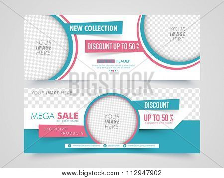 Mega Sale with discount offer, Creative website header or banner set with space to add image.