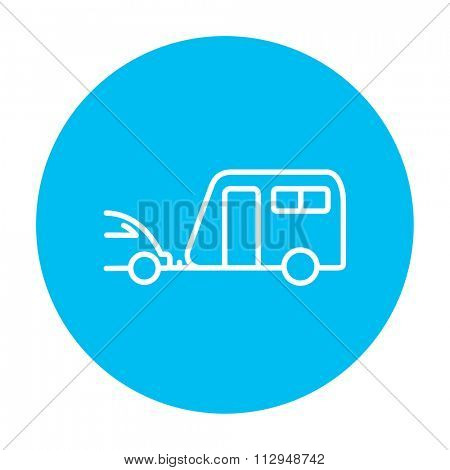 Car with caravan line icon for web, mobile and infographics. Vector white icon on the light blue circle isolated on white background.