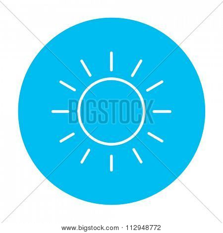 Sun line icon for web, mobile and infographics. Vector white icon on the light blue circle isolated on white background.