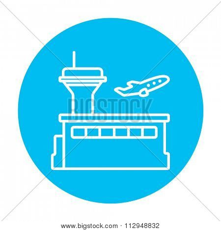 Plane taking off line icon for web, mobile and infographics. Vector white icon on the light blue circle isolated on white background.