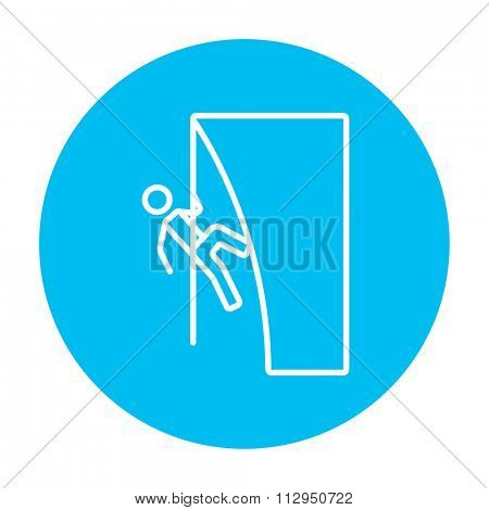 Rock climber climbing an overhanging cliff line icon for web, mobile and infographics. Vector white icon on the light blue circle isolated on white background.