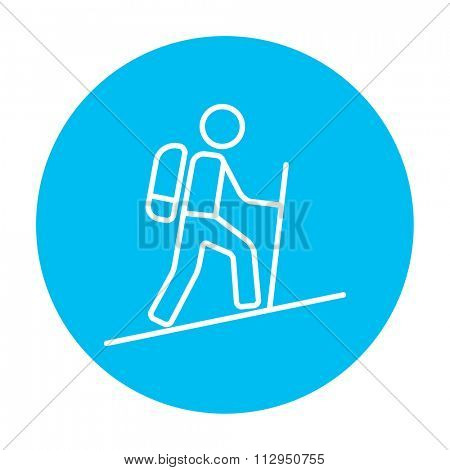 Tourist backpacker line icon for web, mobile and infographics. Vector white icon on the light blue circle isolated on white background.