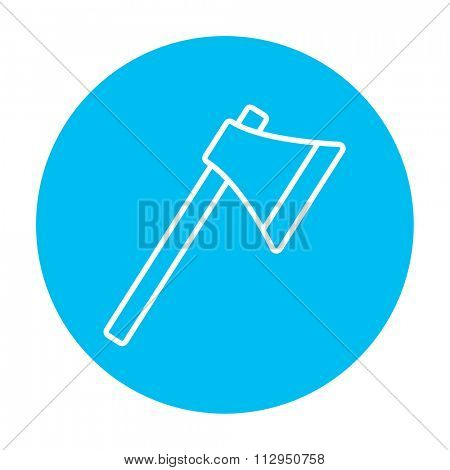 Ax line icon for web, mobile and infographics. Vector white icon on the light blue circle isolated on white background.