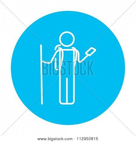 Tourist backpacker with phone line icon for web, mobile and infographics. Vector white icon on the light blue circle isolated on white background.
