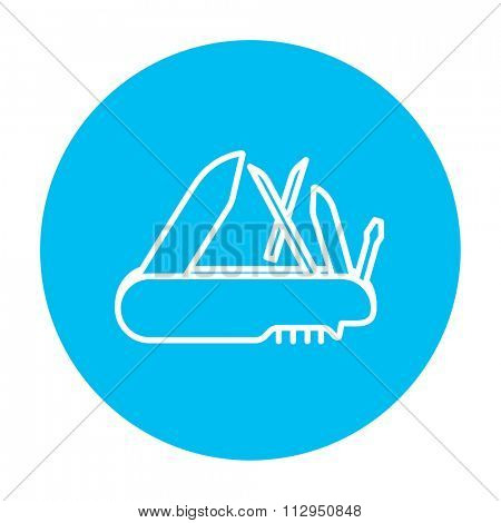 Multipurpose knife line icon for web, mobile and infographics. Vector white icon on the light blue circle isolated on white background.