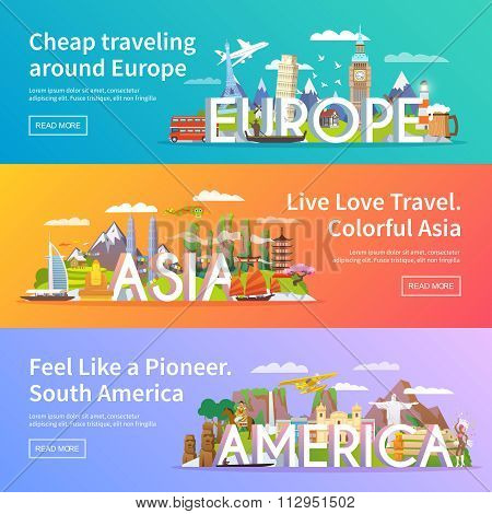 Travel vector banners set
