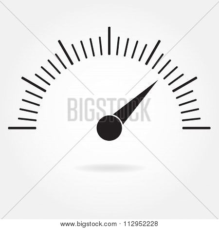 Speedometer icon or sign with arrow. Infographic gauge element. Vector symbol. Black tachometer.