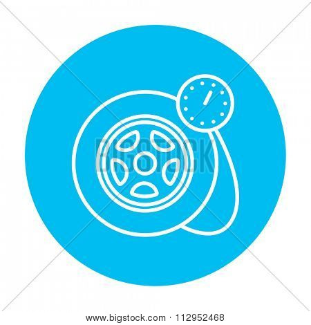 Pressure gauge tyre  line icon for web, mobile and infographics. Vector white icon on the light blue circle isolated on white background.