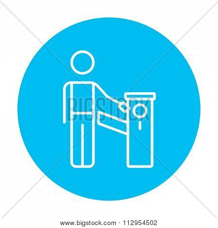 Man at car barrier line icon for web, mobile and infographics. Vector white icon on the light blue circle isolated on white background.