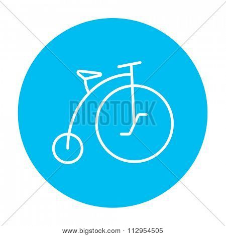 Old bicycle with big wheel line icon for web, mobile and infographics. Vector white icon on the light blue circle isolated on white background.