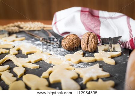 Cutting Cookies From Dough With Cutters