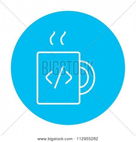 Cup of coffee with a code sign line icon for web, mobile and infographics. Vector white icon on the light blue circle isolated on white background.