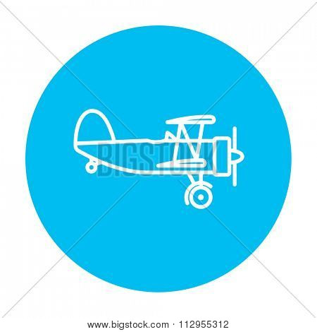 Propeller plane  line icon for web, mobile and infographics. Vector white icon on the light blue circle isolated on white background.