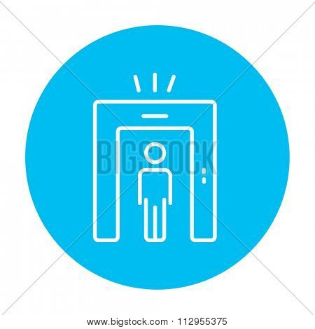 Man going through metal detector gate line icon for web, mobile and infographics. Vector white icon on the light blue circle isolated on white background.