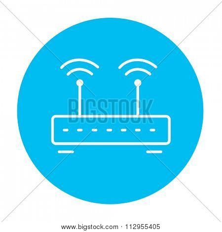 Wireless router line icon for web, mobile and infographics. Vector white icon on the light blue circle isolated on white background.