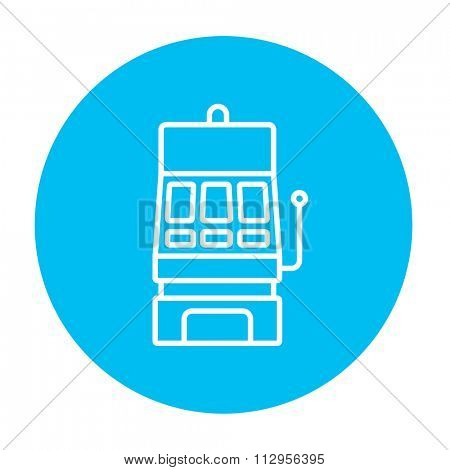 Slot machine line icon for web, mobile and infographics. Vector white icon on the light blue circle isolated on white background.