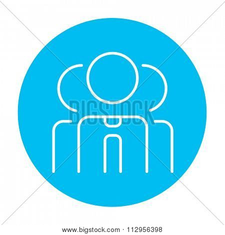 Group of businessmen line icon for web, mobile and infographics. Vector white icon on the light blue circle isolated on white background.