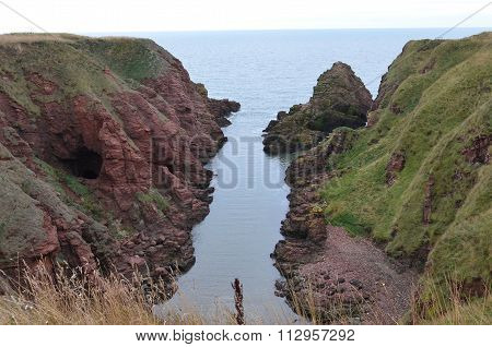 CLIFFS IN ARBROATH,SCOTLAND
