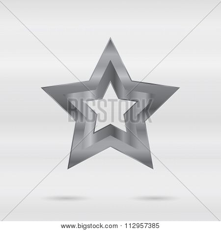 Metallic sign. Set of stainless 3d elements - star.
