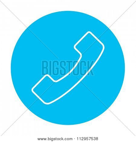 Receiver line icon for web, mobile and infographics. Vector white icon on the light blue circle isolated on white background.